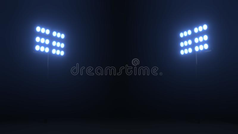 Το στάδιο ποδοσφαίρου ανάβει τους ανακλαστήρες στο μαύρο κλίμα στοκ εικόνα με δικαίωμα ελεύθερης χρήσης