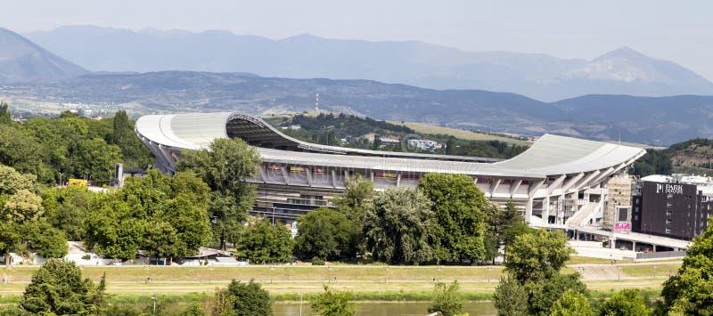 Το στάδιο στο skopje, Μακεδονία στοκ εικόνα