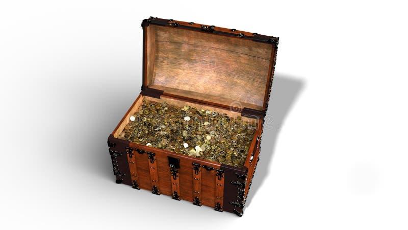 Το στήθος θησαυρών με τα χρυσά νομίσματα, ανοικτό εκλεκτής ποιότητας ξύλινο σύνολο κιβωτίων του χρυσού που απομονώνεται στο άσπρο απεικόνιση αποθεμάτων