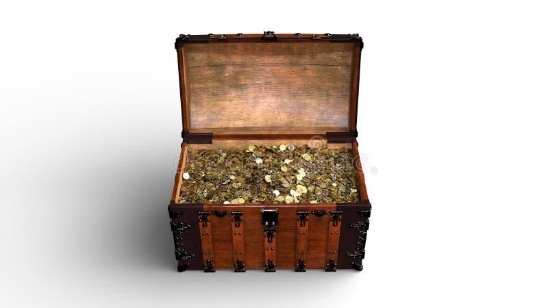 Το στήθος θησαυρών με τα χρυσά νομίσματα, παλαιό ξύλινο σύνολο κιβωτίων του χρυσού που απομονώνεται στο άσπρο υπόβαθρο, μπροστινή απεικόνιση αποθεμάτων