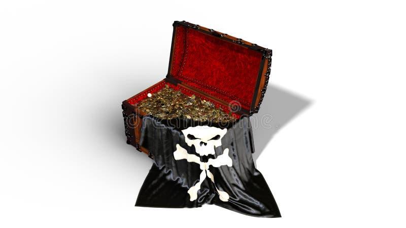 Το στήθος θησαυρών πειρατών με τα χρυσές νομίσματα και τη σημαία κρανίων πειρατών που απομονώνεται στο άσπρο υπόβαθρο, τρισδιάστα ελεύθερη απεικόνιση δικαιώματος