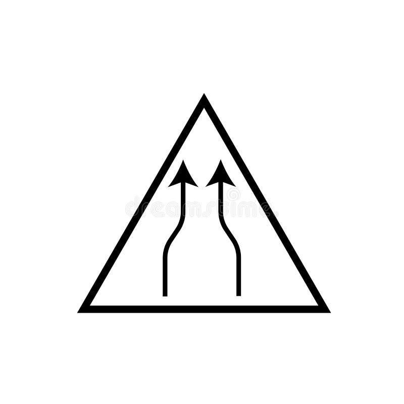 Το στενό διάνυσμα εικονιδίων σημαδιών δύο παρόδων που απομονώνεται στο άσπρο υπόβαθρο, στενεύει το σημάδι σημαδιών δύο παρόδων ελεύθερη απεικόνιση δικαιώματος