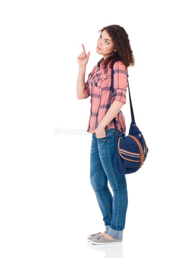το στενό κορίτσι αυξήθηκε το σπουδαστή στοκ εικόνα