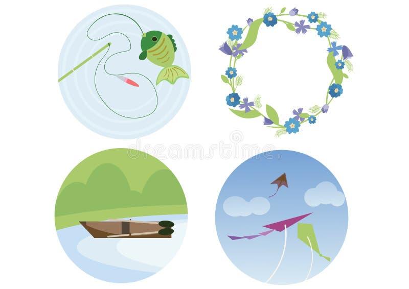 Το στεφάνι αλιείας τυπωμένων υλών του ικτίνου βαρκών λουλουδιών doodle χρωματίζει το επίπεδο καλοκαίρι που κάνει απεικόνιση αποθεμάτων