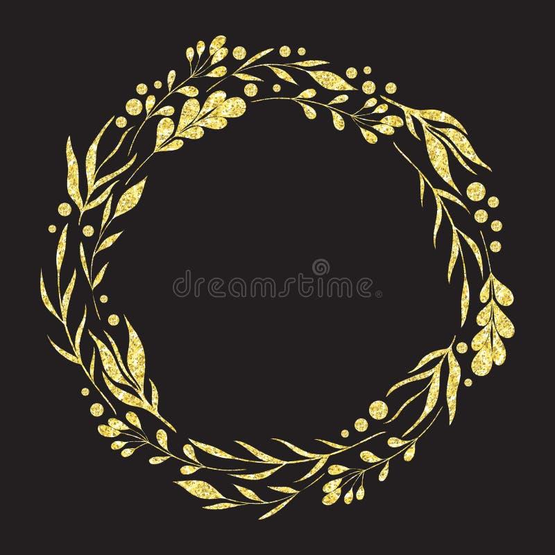 Το στεφάνι με τα διακοσμητικά floral στοιχεία σχεδίου συλλογής με χρυσό ακτινοβολεί σύσταση φύλλων αλουμινίου ελεύθερη απεικόνιση δικαιώματος