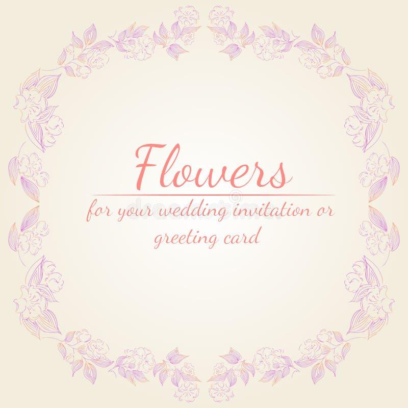 Το στεφάνι των τριαντάφυλλων ή peonies των λουλουδιών διακλαδίζεται με το ροζ, την πορφύρα και τα χρώματα κοραλλιών Floral στοιχε απεικόνιση αποθεμάτων