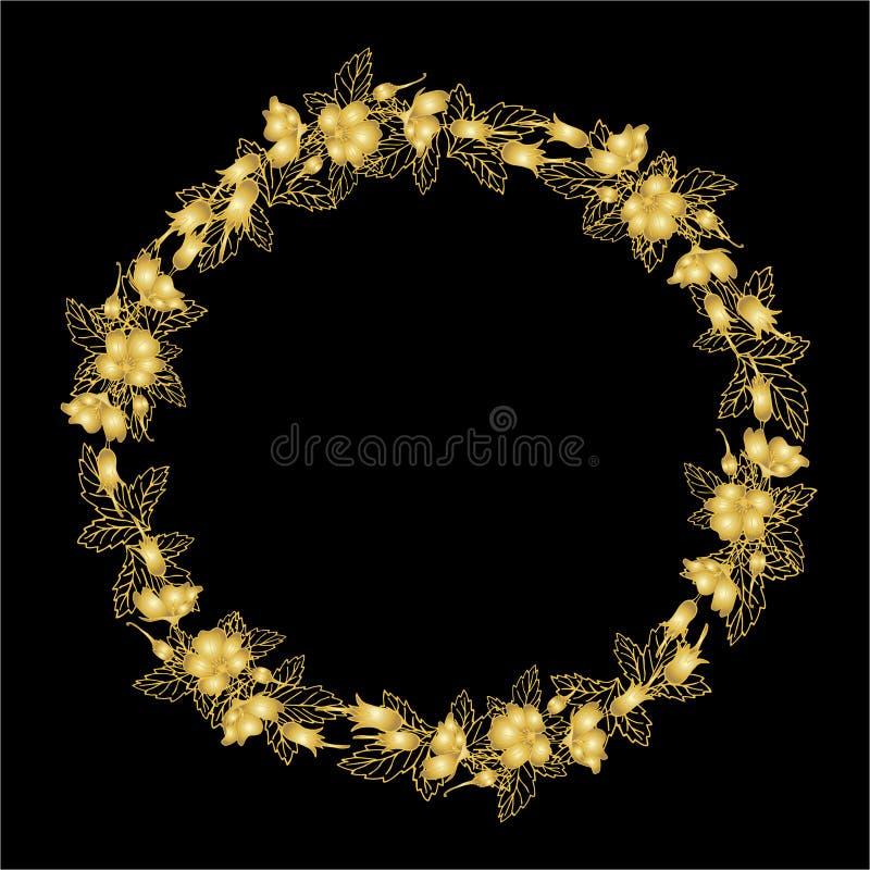 Το στεφάνι των χρυσών flovers, μπορεί να χρησιμοποιηθεί ως ευχετήρια κάρτα, κάρτα πρόσκλησης για το γάμο, γενέθλια και άλλα διακο απεικόνιση αποθεμάτων