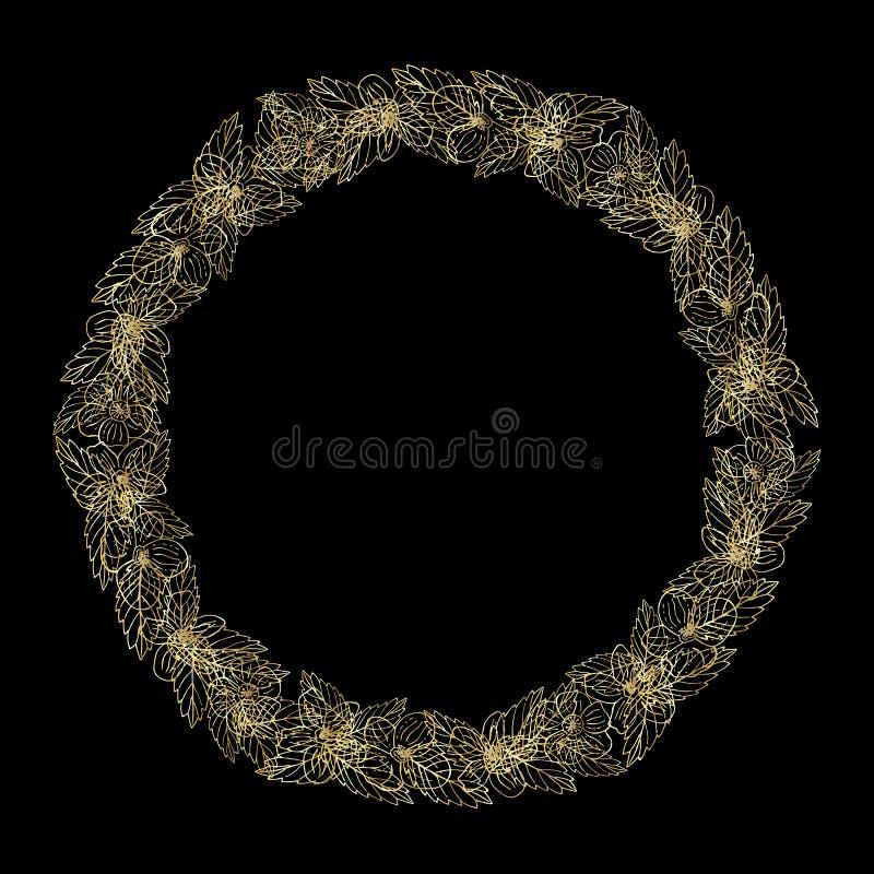 Το στεφάνι των χρυσών flovers, μπορεί να χρησιμοποιηθεί ως ευχετήρια κάρτα, κάρτα πρόσκλησης για το γάμο, γενέθλια και άλλα διακο διανυσματική απεικόνιση
