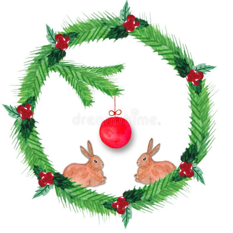 Το στεφάνι Χριστουγέννων Watercolor του έλατου διακλαδίζεται, κόκκινα μούρα, με μια κόκκινη σφαίρα και ένα κουνέλι δύο απεικόνιση αποθεμάτων