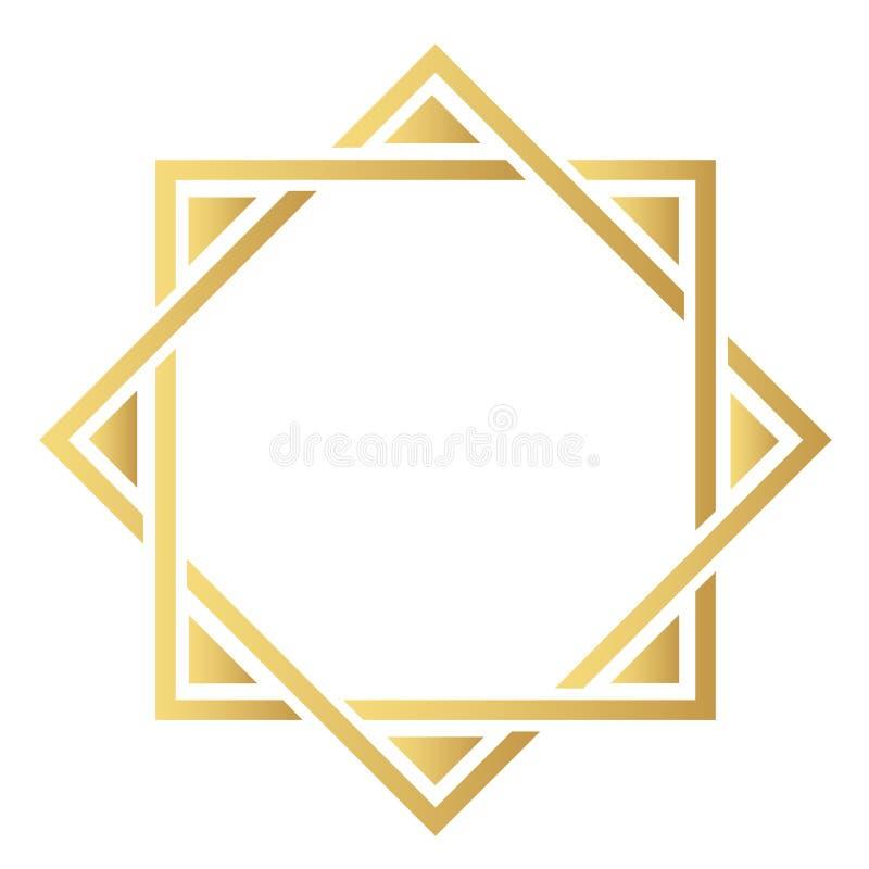 Το στοιχείο της ασιατικής διακόσμησης Χρυσά σύγχρονα σύνορα ελεύθερη απεικόνιση δικαιώματος