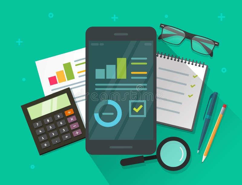 Το στοιχείο Analytics οδηγεί στην κινητούς τηλεφωνικούς οθόνη και τον πίνακα διανυσματική απεικόνιση, επίπεδες πληροφορίες στατισ διανυσματική απεικόνιση
