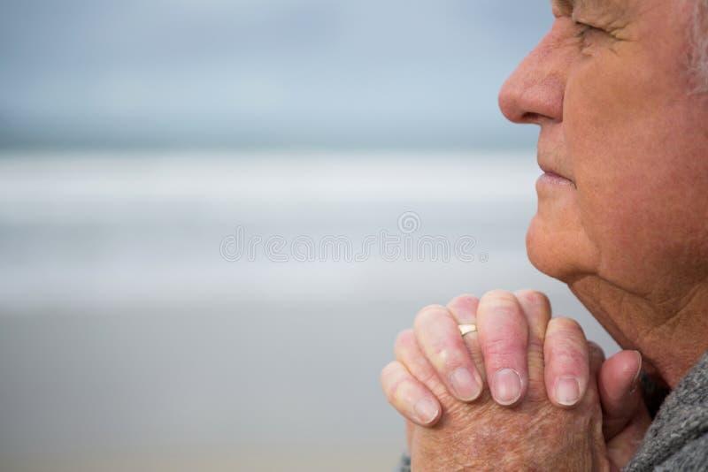 Το στοχαστικό ανώτερο άτομο με τα χέρια στην παραλία στοκ εικόνα