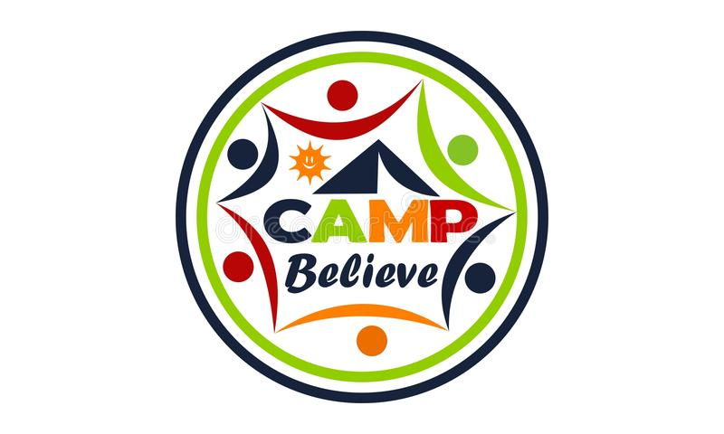 Το στρατόπεδο θεωρεί το πρότυπο σχεδίου λογότυπων απεικόνιση αποθεμάτων