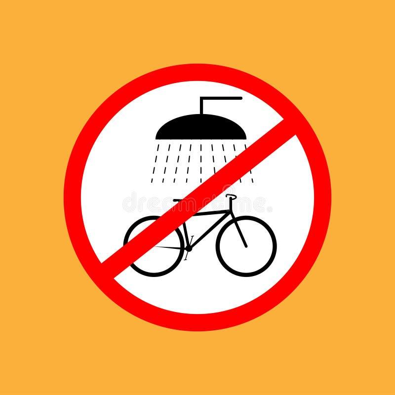 Το στρογγυλό εικονίδιο ποδηλάτων δεν πλένει το ποδήλατο, κόκκινη λεπτή γραμμή στο άσπρο υπόβαθρο - διανυσματική απεικόνιση απεικόνιση αποθεμάτων