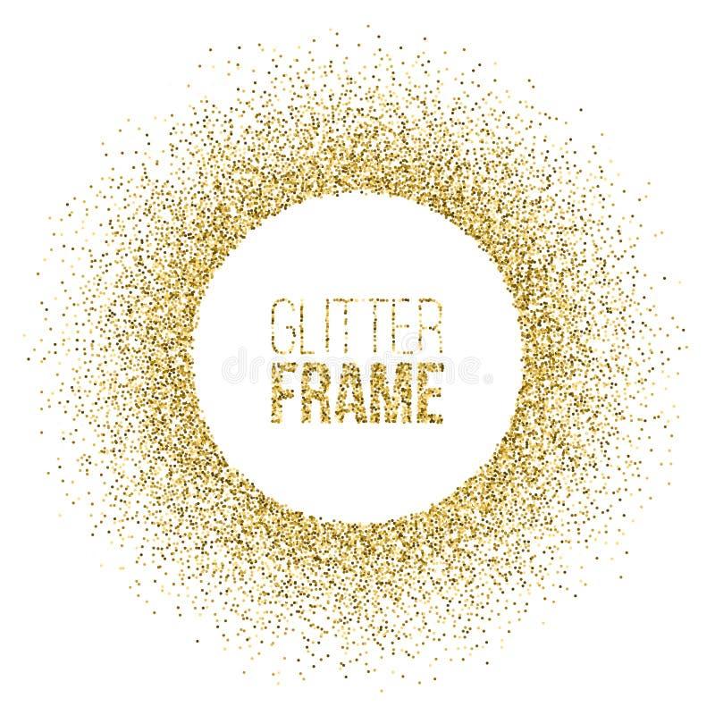 Το στρογγυλό πλαίσιο φιαγμένο από χρυσό ακτινοβολεί απομονωμένος στο άσπρο υπόβαθρο Διανυσματικό χρυσό πλαίσιο απεικόνιση αποθεμάτων