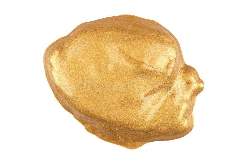 Το στρογγυλό προσώπου δείγμα ιδρύματος σύνθεσης υγρό χρυσό με ακτινοβολεί μόρια, που απομονώνονται στο άσπρο υπόβαθρο, ψαλιδίζοντ στοκ φωτογραφίες