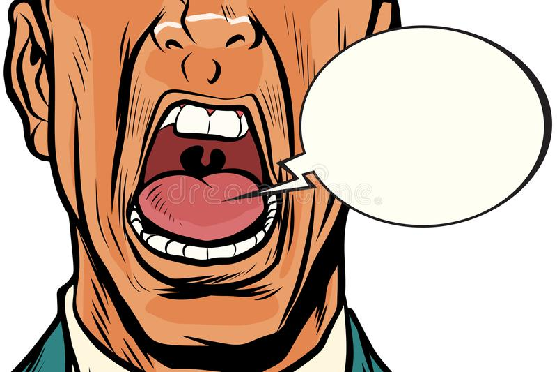 Το στόμα κινηματογραφήσεων σε πρώτο πλάνο κραυγάζει το αρσενικό απεικόνιση αποθεμάτων