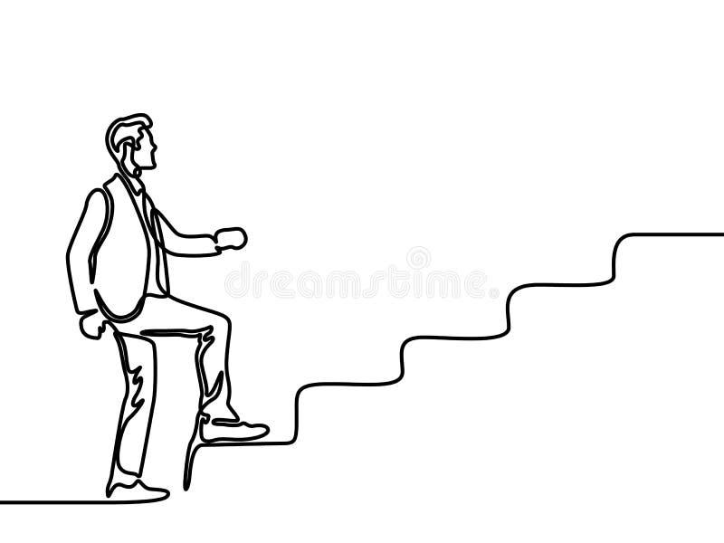 Το συνεχές σχέδιο γραμμών ένα άτομο αναρριχείται στα σκαλοπάτια r διανυσματική απεικόνιση