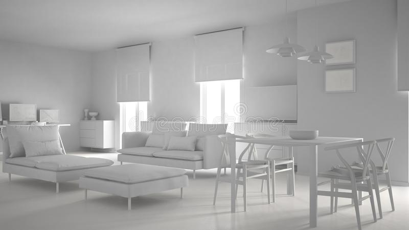 Το συνολικό άσπρο πρόγραμμα του σύγχρονου σύγχρονου ανοιχτού χώρου καθιστικών με να δειπνήσει τον πίνακα και το γραφείο γωνιών, ε ελεύθερη απεικόνιση δικαιώματος