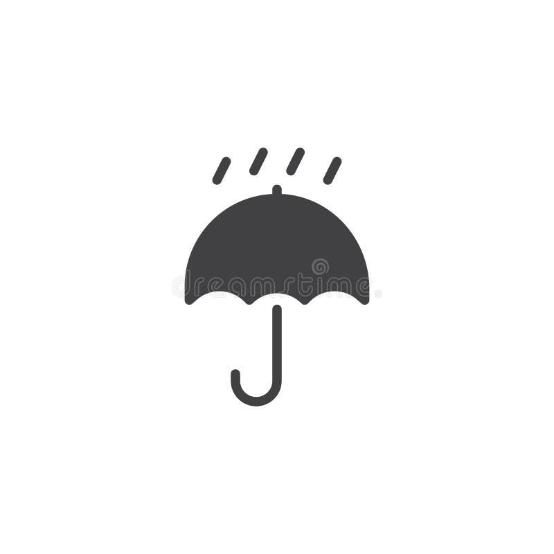 Το συσκευάζοντας σημάδι κρατά ξηρός με το διάνυσμα ομπρελών και εικονιδίων πτώσεων διανυσματική απεικόνιση