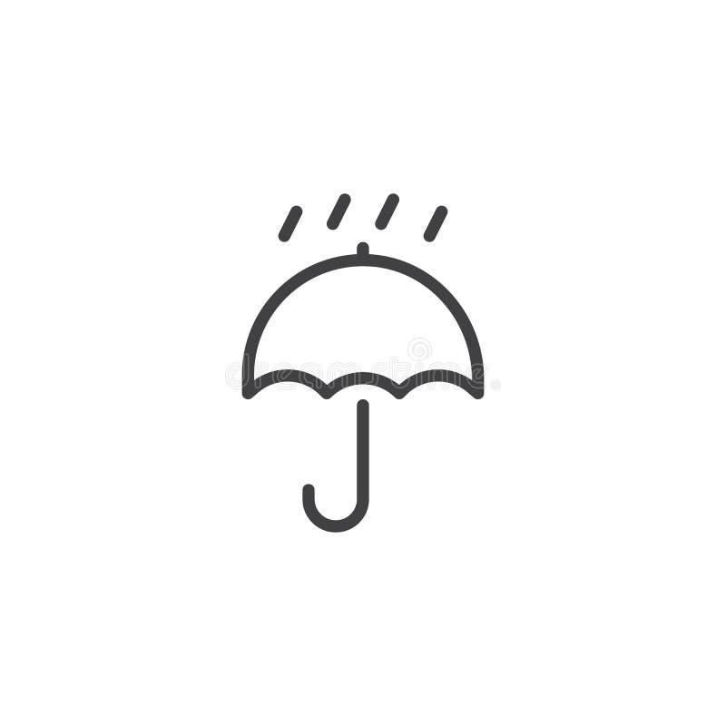 Το συσκευάζοντας σημάδι κρατά ξηρός με το εικονίδιο ομπρελών και γραμμών πτώσεων διανυσματική απεικόνιση