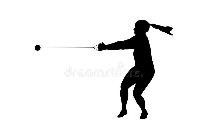 Το σφυρί ρίχνει το θηλυκό αθλητή ελεύθερη απεικόνιση δικαιώματος