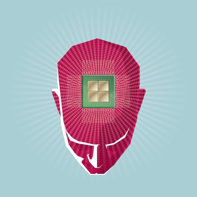 Το σχέδιο έννοιας τεχνητής νοημοσύνης, το τσιπ υπολογιστή είναι πάνω από το κεφάλι απεικόνιση αποθεμάτων