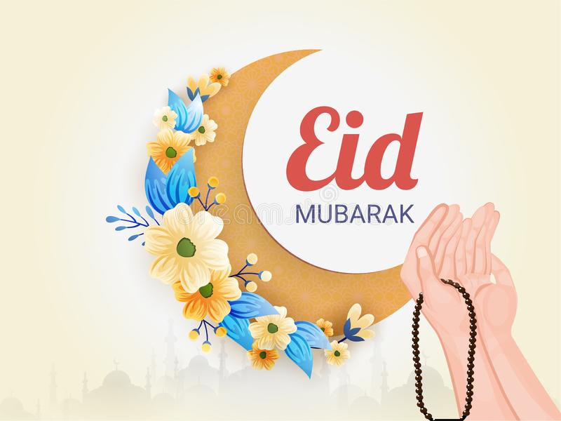 Το σχέδιο αφισών ή εμβλημάτων εορτασμού φεστιβάλ του Μουμπάρακ Eid με την απεικόνιση παραδίδει την προσευχή (Namaz) θέτει στην αν διανυσματική απεικόνιση