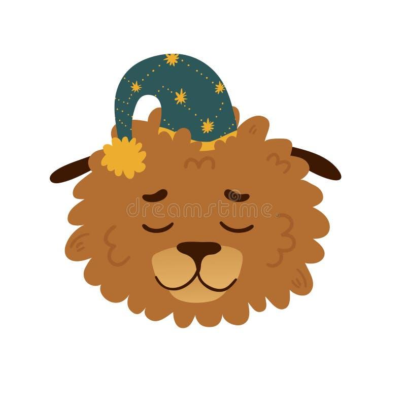 Χαριτωμένο σχέδιο ειδώλων με ένα σκυλί κινούμενων σχεδίων ύπνου μέσα σε ένα αστέρι ΚΑΠ Το σχέδιο αφισών με ένα εύθυμο σκυλάκι για διανυσματική απεικόνιση