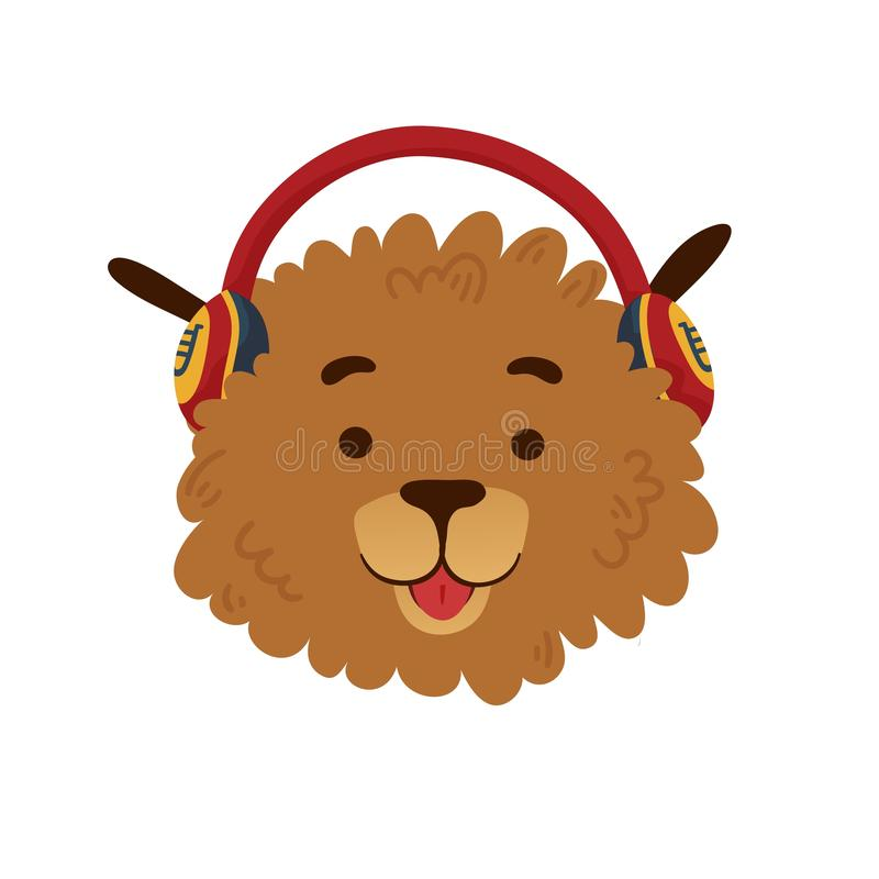Χαριτωμένο σχέδιο ειδώλων με ένα σκυλί κινούμενων σχεδίων σε ένα κόκκινο ακουστικό Το σχέδιο αφισών με το εύθυμο σκυλάκι Όμορφη τ ελεύθερη απεικόνιση δικαιώματος