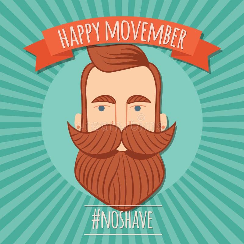 Το σχέδιο αφισών Movember, προστατική συνειδητοποίηση καρκίνου, hipster επανδρώνει με τη γενειάδα και moustache ελεύθερη απεικόνιση δικαιώματος