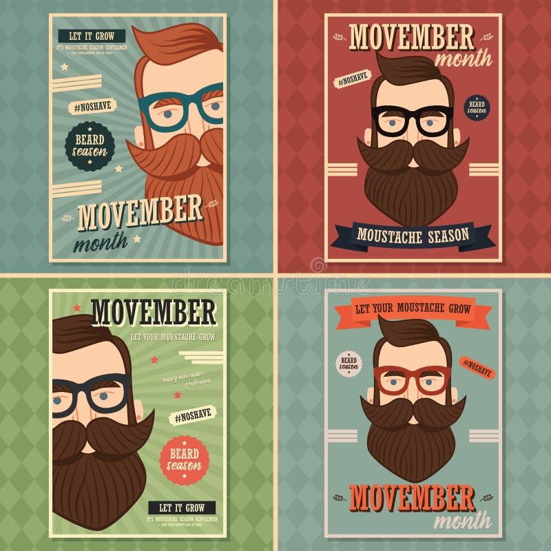 Το σχέδιο αφισών Movember, προστατική συνειδητοποίηση καρκίνου, hipster επανδρώνει με τη γενειάδα και moustache απεικόνιση αποθεμάτων