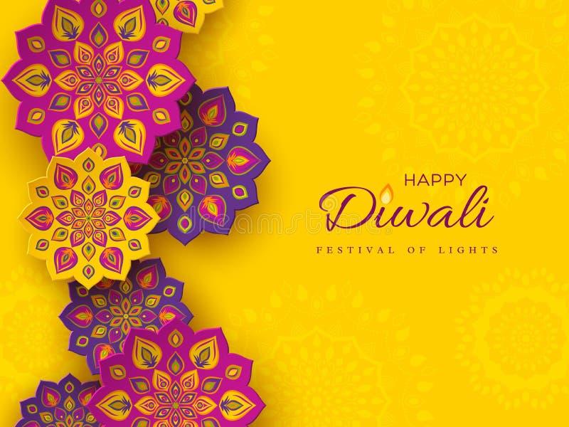 Το σχέδιο διακοπών φεστιβάλ Diwali με το έγγραφο έκοψε το ύφος ινδικού Rangoli Πορφυρό χρώμα στο κίτρινο υπόβαθρο, απεικόνιση ελεύθερη απεικόνιση δικαιώματος