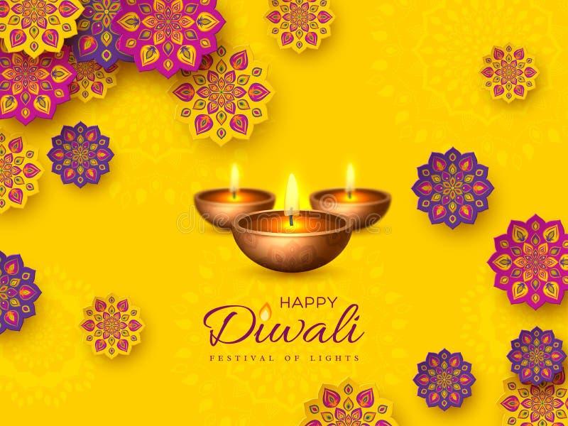 Το σχέδιο διακοπών φεστιβάλ Diwali με το έγγραφο έκοψε το ύφος ινδικών Rangoli και του diya - ελαιολυχνία Πορφυρό χρώμα σε κίτριν απεικόνιση αποθεμάτων