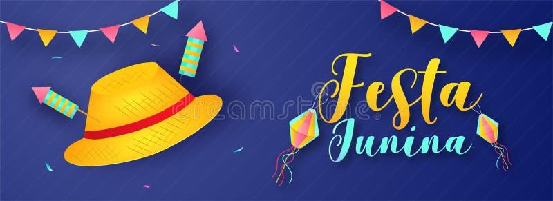Το σχέδιο επιγραφών ή εμβλημάτων εορτασμού Junina Festa διακόσμησε με τα στοιχεία κομμάτων όπως το καπέλο, οι πύραυλοι πυροτεχνημ ελεύθερη απεικόνιση δικαιώματος