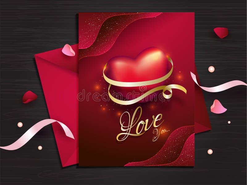 Το σχέδιο ευχετήριων καρτών αγάπης στο κόκκινο χρώμα διακόσμησε με τις κορδέλλες και τα πέταλα λουλουδιών για την ημέρα του βαλεν διανυσματική απεικόνιση