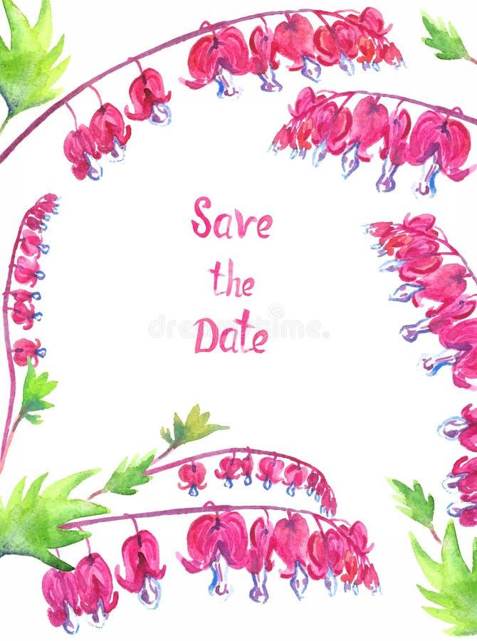 Το σχέδιο ευχετήριων καρτών με τα ρόδινα αιμορραγώντας λουλούδια καρδιών, που απομονώνεται στο λευκό σώζει την επιγραφή ημερομηνί διανυσματική απεικόνιση