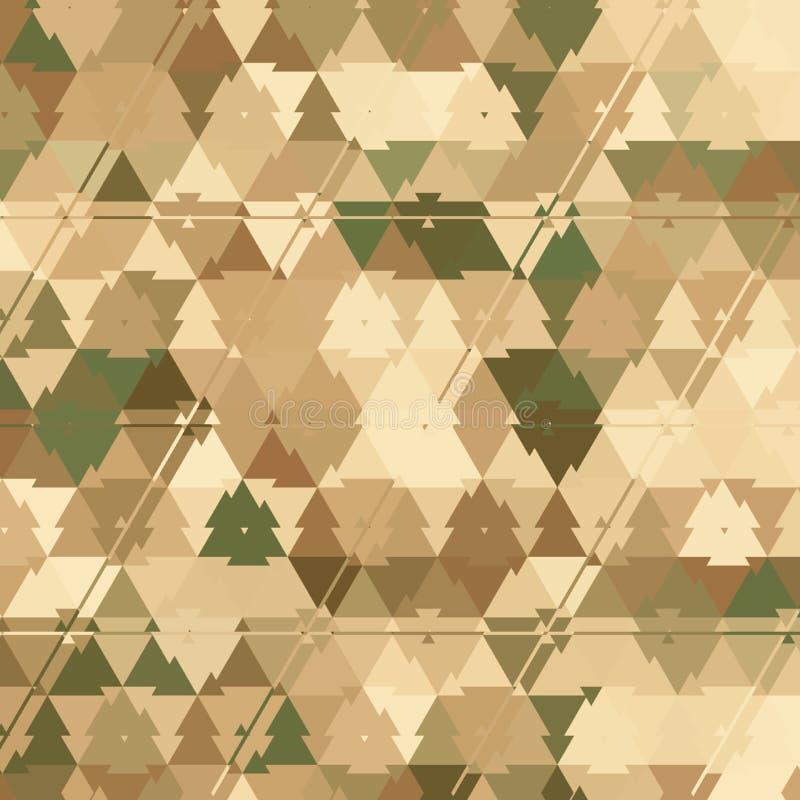 Το σχέδιο κάλυψης τριγώνων πράσινο, χακί, καφετής, ελεφαντόδοντο, επίδραση βγάζει φύλλα, άμμος ελεύθερη απεικόνιση δικαιώματος