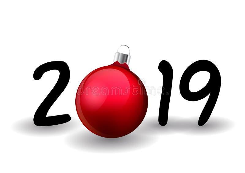Το σχέδιο καλής χρονιάς για την κάρτα εορτασμού, χαιρετισμός διακοπών, ημερολόγιο, έμβλημα με μηδέν έκανε από τη σφαίρα Χριστουγέ ελεύθερη απεικόνιση δικαιώματος