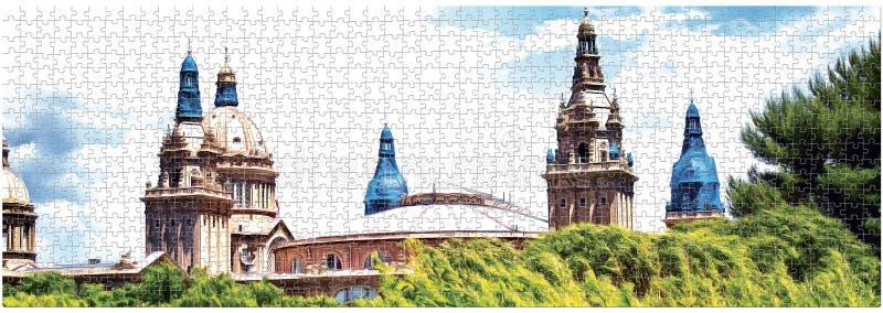 Το σχέδιο καλύπτει το εθνικό Μουσείο Τέχνης της Καταλωνίας στην αποκατάσταση στο σχέδιο του γρίφου δια θόλου πανόραμα διανυσματική απεικόνιση