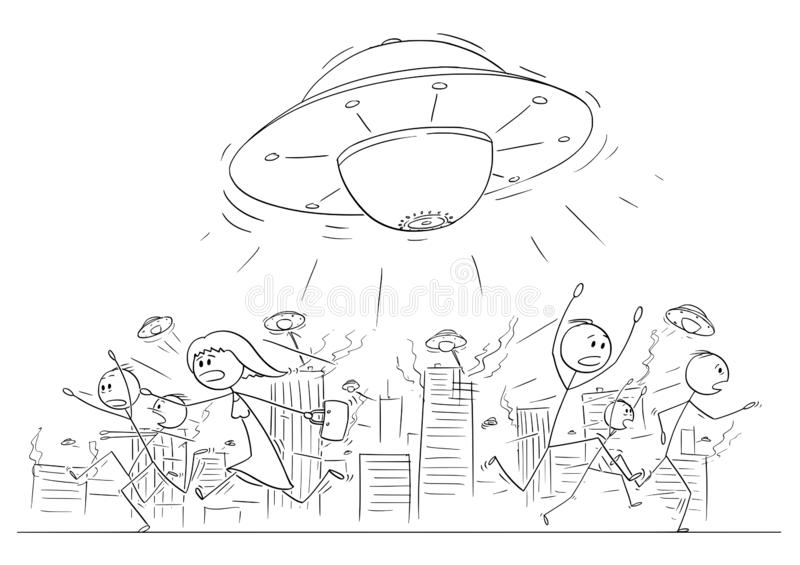 Το σχέδιο κινούμενων σχεδίων του πλήθους των ανθρώπων που τρέχουν στον πανικό μακρυά από UFO ή τον αλλοδαπό στέλνει την επιτιθειμ διανυσματική απεικόνιση