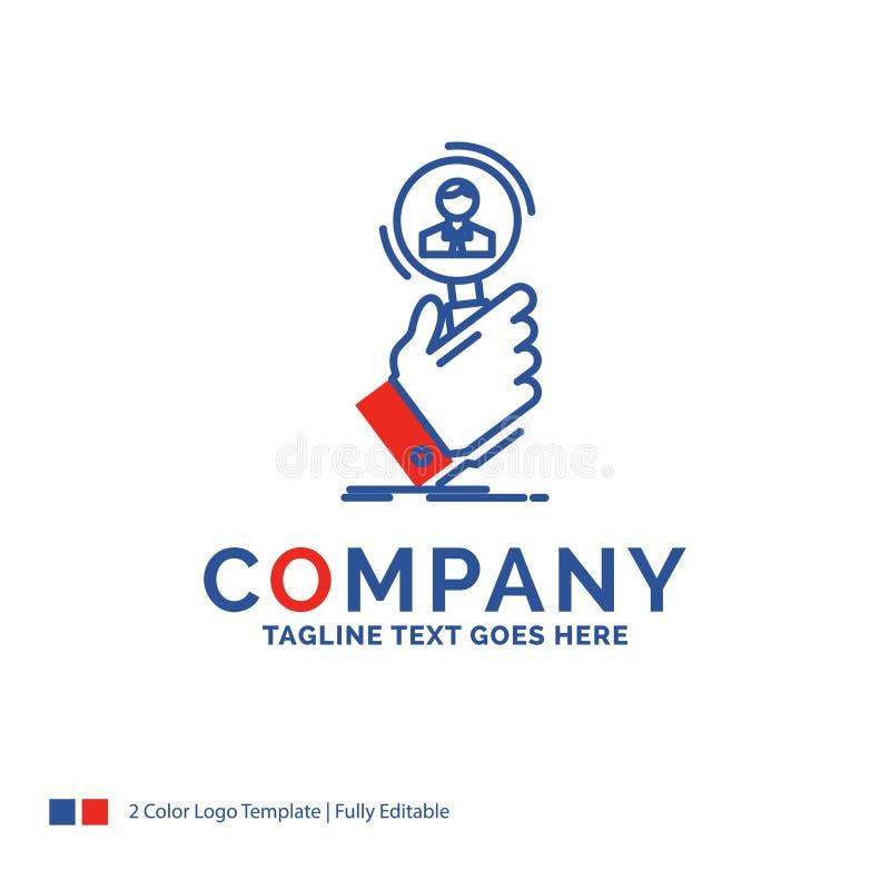 Το σχέδιο λογότυπων ονόματος επιχείρησης για τη στρατολόγηση, αναζήτηση, βρίσκει, ανθρώπινος σχετικά με διανυσματική απεικόνιση