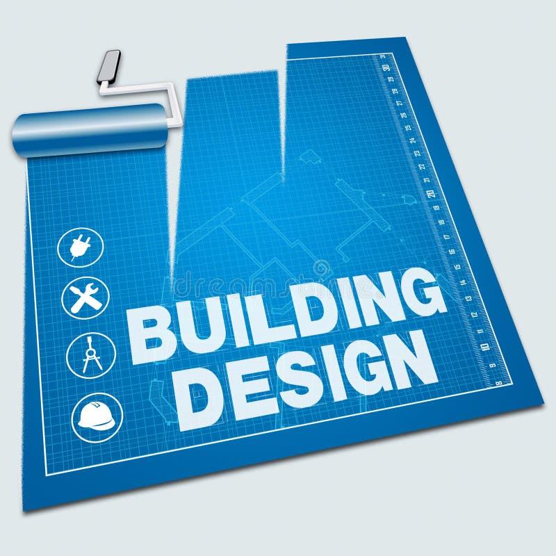 Το σχέδιο οικοδόμησης παρουσιάζει στα σχέδια σπιτιών τρισδιάστατη απεικόνιση ελεύθερη απεικόνιση δικαιώματος