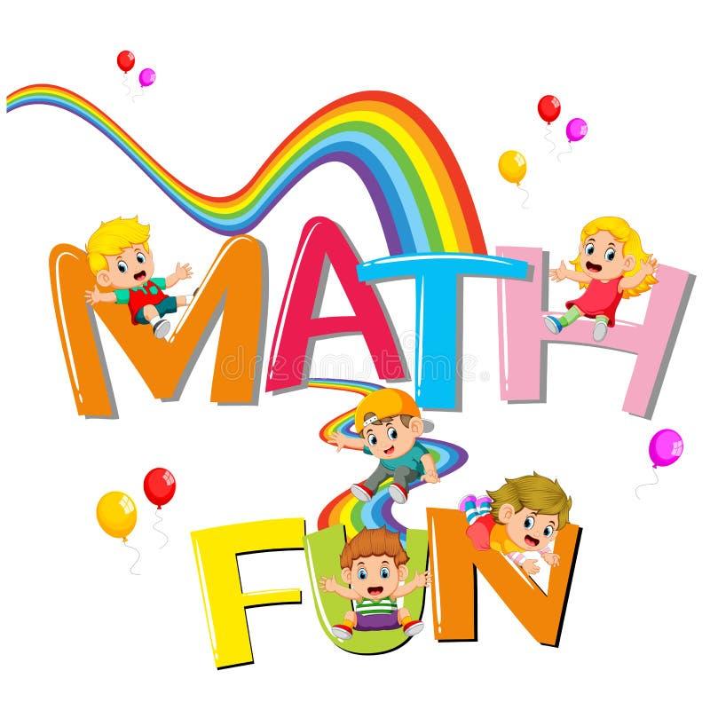 Το σχέδιο πηγών για τη λέξη math είναι διασκέδαση με τα παιδιά που γλιστρούν στο ουράνιο τόξο ελεύθερη απεικόνιση δικαιώματος