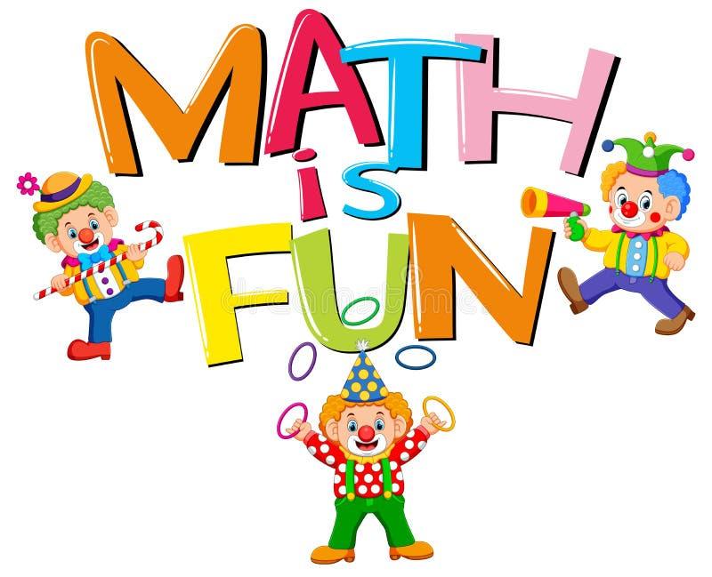 Το σχέδιο πηγών για τη λέξη math είναι διασκέδαση με τους κλόουν διανυσματική απεικόνιση