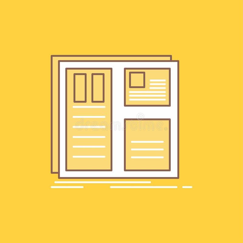 Το σχέδιο, πλέγμα, διεπαφή, σχεδιάγραμμα, ui οριζόντια γραμμή γέμισε το εικονίδιο Όμορφο κουμπί λογότυπων πέρα από το κίτρινο υπό απεικόνιση αποθεμάτων