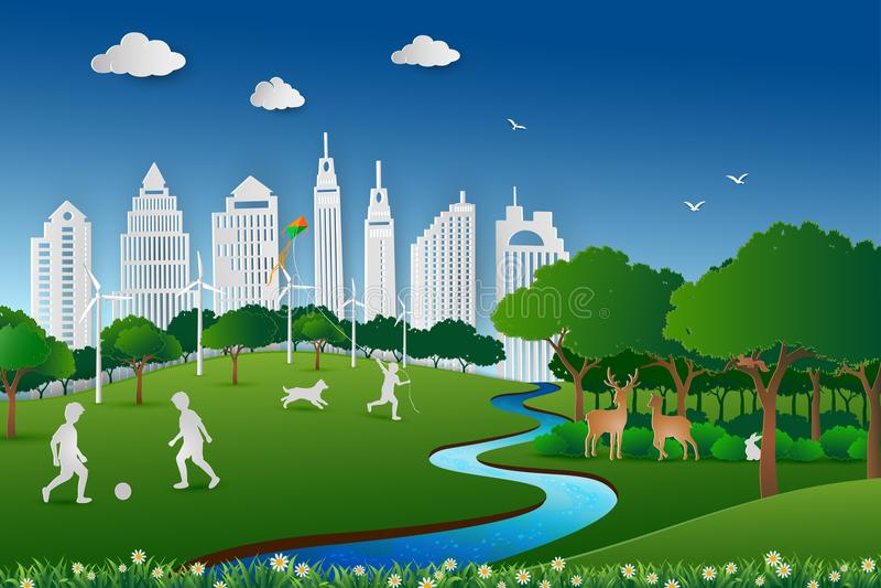 Το σχέδιο τέχνης εγγράφου του τοπίου φύσης, εκτός από την έννοια περιβάλλοντος και ενέργειας, childs ευτυχής και χαλαρώνει στο πά ελεύθερη απεικόνιση δικαιώματος