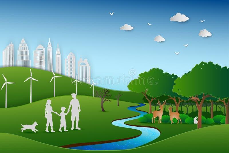 Το σχέδιο τέχνης εγγράφου του eco φιλικό και σώζει την έννοια συντήρησης περιβάλλοντος, οικογένεια πίσω στο πράσινο τοπίο φύσης ελεύθερη απεικόνιση δικαιώματος