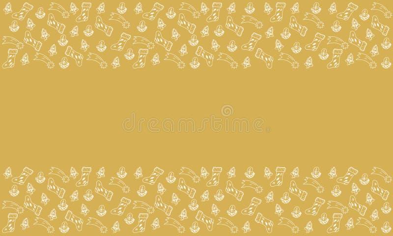 Το σχέδιο των στοιχείων Χριστουγέννων Doodle, κερί με το καρύδι, αστέρι έρχεται απεικόνιση αποθεμάτων