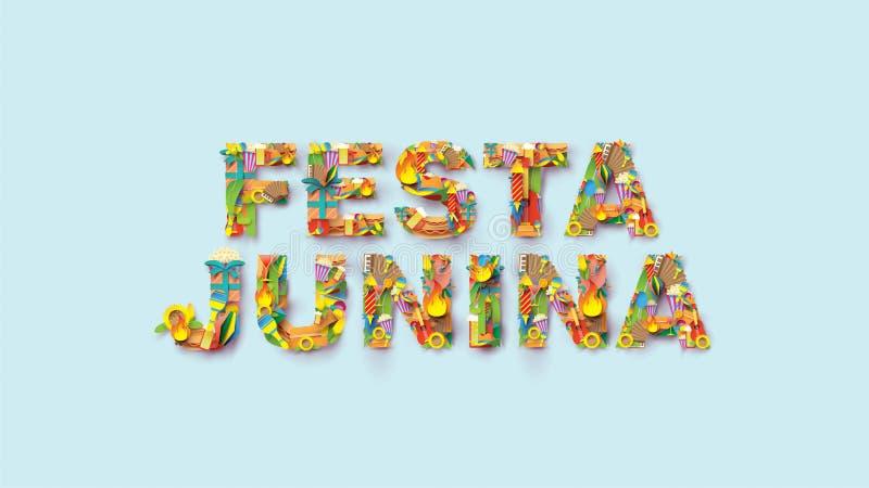 Το σχέδιο φεστιβάλ τυπογραφίας Junina Festa στην τέχνη εγγράφου και το επίπεδο ύφος με τις σημαίες κόμματος και το φανάρι εγγράφο απεικόνιση αποθεμάτων